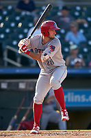 Clearwater Threshers Matt Vierling (28) bats during a Florida State League game against the Palm Beach Cardinals on August 10, 2019 at Roger Dean Chevrolet Stadium in Jupiter, Florida.  Clearwater defeated Palm Beach 11-4.  (Mike Janes/Four Seam Images)