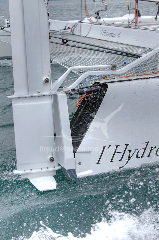 The Hydroptere.ch, Lausanne, Switzerland. .The hydroptere.ch broke two records (records for the Lake Geneva or Lake Léman).29.18 on a 1 km distance.21.32 kts on a hour.Launched in autumn 2010, this catamaran is part of a complete scientific process. As a lab boat, her main purpose is to test geometries and behaviours in varied real conditions for the development of l'Hydroptère maxi., Lausanne, Switzerland.