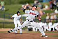Great Lakes Loons pitcher Scott Barlow (43) delivers a pitch during a game against the West Michigan Whitecaps on June 5, 2014 at Fifth Third Ballpark in Comstock Park, Michigan.  West Michigan defeated Great Lakes 6-2.  (Mike Janes/Four Seam Images)