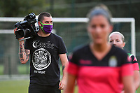 illustration picture broadcasting a female soccer game between KRC Genk Ladies and Sporting Charleroi  on the first matchday of the 2020 - 2021 season of Belgian Women's SuperLeague , friday 28 of August 2020  in Genk , Belgium . PHOTO SPORTPIX.BE | SPP | STIJN AUDOOREN