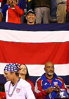 SAN JOSE, COSTA RICA - September 06, 2013: Fan of the USA MNT in front of a fan of the Costa Rica MNT during a 2014 World Cup qualifying match at the National Stadium in San Jose on September 6. USA lost 3-1.