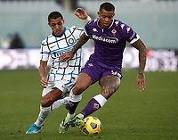 Football Soccer: Tim Cup Round of 16 Fiorentina - FC Internazionale Milano, Artemio Franchi  stadium, Florence, January 13, 2021. <br /> Fiorentina's Igor (r) in action with Inter's Alexis Sanchez (l) during the Italian Tim Cup football match between Fiorentina and Inter at Florence's Artemio Franchi stadium, on January 13, 2021.  <br /> UPDATE IMAGES PRESS/Isabella Bonotto