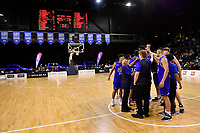 Saints team Huddle during the round two NBL match between the Wellington Saints and the Southland Sharks at TSB Bank Arena, Wellington, New Zealand on Friday 7 May 2021.<br /> Photo by Masanori Udagawa. <br /> www.photowellington.photoshelter.com