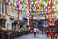 Chinatown London in partnership withthe London Chinatown Chinese Association (LCCA) has replaced the area's iconicred lanterns with thousands of special rainbow coloured lanterns.<br /> The rows of vibrantly coloured lanterns throughout the streets of Chinatown are part of the #LoveChinatown campaign, to support the community of Chinatown businessesand safely welcome people back to the area.The rainbow hasalso been a symbol throughout the pandemic of support tothe UK's wonderful key workers. London 16th September 2020<br /> <br /> Photo by Keith Mayhew