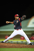Batavia Muckdogs relief pitcher Victor Delgado (27) during a game against the Williamsport Crosscutters on September 1, 2016 at Dwyer Stadium in Batavia, New York.  Williamsport defeated Batavia 10-3. (Mike Janes/Four Seam Images)