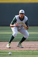 Thomas Walker #42 of the Oregon Ducks during a game against the UCLA Bruins at Jackie Robinson Stadium on April 6, 2012 in Los Angeles,California. Oregon defeated UCLA 8-3.(Larry Goren/Four Seam Images)