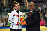 Leipzig, Germany, February 08: Anne Schroeder holds up the trophy of the Best Junior Player of the FIH Indoor Hockey Women World Cup on February 8, 2015 at the Arena Leipzig in Leipzig, Germany. (Photo by Dirk Markgraf / www.265-images.com) *** Local caption ***