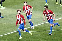 Atletico de Madrid's Antoine Griezmann, Saul Niguez and Stefan Savic celebrate goal during La Liga match. March 19,2017. (ALTERPHOTOS/Acero) /NORTEPHOTO.COM