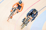 Edward Dawkins of New Zealand and Harrie Lavreysen of the Netherlands compete on the Men's Sprint Quarter-finals - 2nd Race during the 2017 UCI Track Cycling World Championships on 15 April 2017, in Hong Kong Velodrome, Hong Kong, China. Photo by Marcio Rodrigo Machado / Power Sport Images
