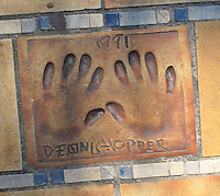 Hand print of the film star and director, Dennis Hopper, outside the Palais des Festivals et des Congres, Cannes, France.