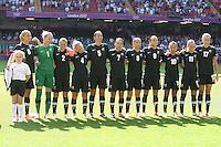New Zealand players line up before kick-off - Great Britain Women vs New Zealand Women - Womens Olympic Football Tournament London 2012 Group E at the Millenium Stadium, Cardiff, Wales - 25/07/12 - MANDATORY CREDIT: Gavin Ellis/SHEKICKS/TGSPHOTO - Self billing applies where appropriate - 0845 094 6026 - contact@tgsphoto.co.uk - NO UNPAID USE.