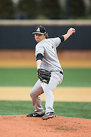 Appalachian State Mountaineers starting pitcher Taylor Thurber (3) in action against the Wake Forest Demon Deacons at Wake Forest Baseball Park on February 13, 2015 in Winston-Salem, North Carolina.  The Mountaineers defeated the Demon Deacons 10-1.  (Brian Westerholt/Four Seam Images)