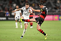 10th February 2021; Bankwest Stadium, Parramatta, New South Wales, Australia; A League Football, Western Sydney Wanderers versus Melbourne Victory; Graham Dorrans of Western Sydney Wanderers tackles Jake Brimmer of Melbourne Victory