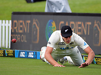 NZ's Kyle Jamieson dives to prevent a boundary during day four of the second International Test Cricket match between the New Zealand Black Caps and Pakistan at Hagley Oval in Christchurch, New Zealand on Wednesday, 6 January 2021. Photo: Dave Lintott / lintottphoto.co.nz