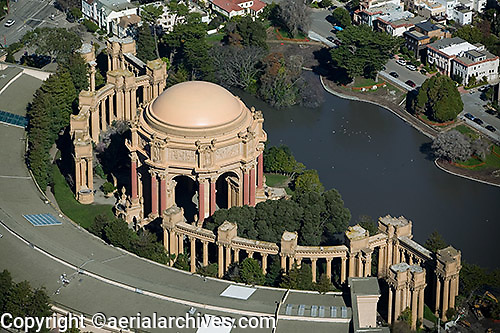 aerial photograph Palace of Fine Arts San Francisco Marina district residential neighborhood San Francisco California