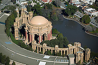 aerial photograph Palace of Fine Arts San Francisco Marina district residential neighborhood San Francisco California
