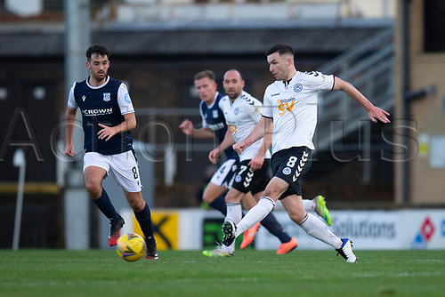 21st November 2020; Somerset Park, Ayr, South Ayrshire, Scotland; Scottish Championship Football, Ayr United versus Dundee FC; Michael Miller of Ayr United and Shaun Byrne of Dundee challenge for the ball