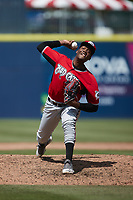 Carolina Mudcats relief pitcher Abner Uribe (15) in action against the Kannapolis Cannon Ballers at Atrium Health Ballpark on June 13, 2021 in Kannapolis, North Carolina. (Brian Westerholt/Four Seam Images)