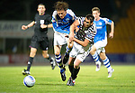 St Johnstone v Queens Park....25.09.12      Scottish Communities League Cup 3rd Round.Miurray Davidson is taken out by James Brough.Picture by Graeme Hart..Copyright Perthshire Picture Agency.Tel: 01738 623350  Mobile: 07990 594431
