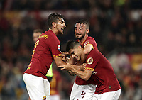 Football, Serie A: AS Roma - Parma, Olympic stadium, Rome, May 26, 2019. <br /> Roma's Diego Perotti (c) celebrates after scoring with his teammates Lorenzo Pellegrini (l) and Bryan Cristante (r) during the Italian Serie A football match between Roma and Parma at Olympic stadium in Rome, on May 26, 2019.<br /> UPDATE IMAGES PRESS/Isabella Bonotto