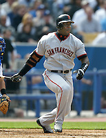 Barry Bonds of the San Francisco Giants bats during a 2002 MLB season game against the Los Angeles Dodgers at Dodger Stadium, in Los Angeles, California. (Larry Goren/Four Seam Images)
