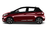 Car driver side profile view of a 2018 Toyota Yaris Two tone 5 Door Hatchback