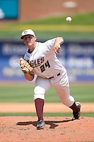Relief pitcher Mike Belfiore #24 of the Boston College Eagles in action versus the Georgia Tech Yellow Jackets at Durham Bulls Athletic Park May 21, 2009 in Durham, North Carolina.  (Photo by Brian Westerholt / Four Seam Images)