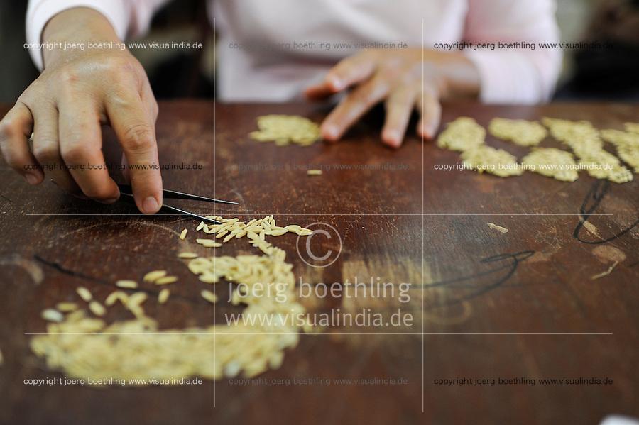 LAOS Vientiane NAFRI Forschungsinstitut fuer Land- u. Forstwirtschaft, Anbau von verschiedenen Reissorten und Kreuzung von neuen Hybrid Sorten mit hoeheren Ertraegen / LAOS Vientiane, rice research institut NAFRI , selection of rice seeds for crossing of new hybrid varieties