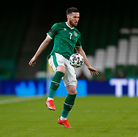 27th March 2021; Aviva Stadium, Dublin, Leinster, Ireland; 2022 World Cup Qualifier, Ireland versus Luxembourg; Matt Doherty on the ball for Republic of Ireland