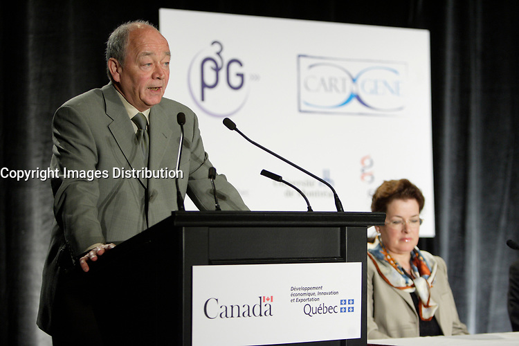 Montreal (QC) CANADA, May 22 2007-<br /> <br /> Dr Claude Laberge, Scientific Director, CARTaGene (a Genmic projet on Quebec population, part of P3G)<br /> speak at the<br /> Press conference of P3G (public Population Projet) in Genomics to foster harmonization genomic data collection and to share those datas.<br /> <br /> photo : (c) Pierre Roussel -  images Distribution