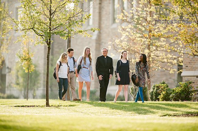 September 22, 2016; Rev. John I. Jenkins, C.S.C. chats with students. (Photo by Matt Cashore/University of Notre Dame)