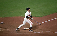 SAN FRANCISCO -  J.T. Snow of the San Francisco Giants hits a pinch hit home run in the bottom of the 9th inning against the New York Mets during Game 2 of the NLDS at AT&T Park in 2000 in San Francisco, California. (Photo by Brad Mangin)