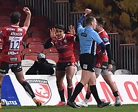 12th February 2021; Kingsholm Stadium, Gloucester, Gloucestershire, England; English Premiership Rugby, Gloucester versus Bristol Bears; Santiago Carreras of Gloucester celebrates scoring his second try