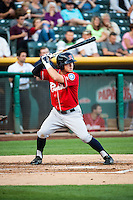 Patrick Brady (10) of the Tacoma Rainiers at bat against the Salt Lake Bees in Pacific Coast League action at Smith's Ballpark on September 2, 2015 in Salt Lake City, Utah. Tacoma defeated Salt Lake 13-6.  (Stephen Smith/Four Seam Images)