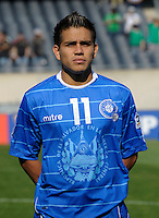 El Salvador's Rodolfo Zelaya lines up for the national anthem.  El Salvador defeated Cuba 6-1 at the 2011 CONCACAF Gold Cup at Soldier Field in Chicago, IL on June 12, 2011.