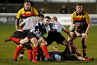 Jack Daly of Blackheath Rugby passing the ball during the English National League match between Richmond and Blackheath  at Richmond Athletic Ground, Richmond, United Kingdom on 4 January 2020. Photo by Carlton Myrie.