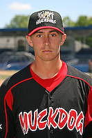June 16, 2009:  Tyler Leach of the Batavia Muckdogs poses for a head shot before the teams practice at Dwyer Stadium in Batavia, NY.  The Batavia Muckdogs are the NY-Penn League Single-A affiliate of the St. Louis Cardinals.  Photo by:  Mike Janes/Four Seam Images