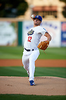 Rancho Cucamonga Quakes starting pitcher Andrew Sopko (12) delivers a pitch during a California League game against the Lake Elsinore Storm at LoanMart Field on May 18, 2018 in Rancho Cucamonga, California. Lake Elsinore defeated Rancho Cucamonga 5-4. (Zachary Lucy/Four Seam Images)