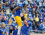 BROOKINGS, SD - MAY 8: Pierre Strong Jr. #20 of the South Dakota State Jackrabbits celebrates a touchdown against the Delaware Fightin Blue Hens on May 8, 2021 in Brookings, South Dakota. (Photo by Dave Eggen/Inertia)