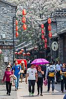 Yangzhou, Jiangsu, China.  Dong Guan Street Scene.