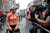 Defending World Champion Anna van der Breggen (NED/SD Worx) interviewed at the race start of her final pro race in Antwerpen<br /> <br /> Women Elite - Road Race (WC)<br /> from Antwerp to Leuven (158km)<br /> <br /> UCI Road World Championships - Flanders Belgium 2021<br /> <br /> ©kramon