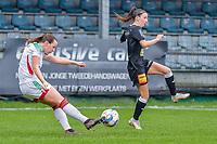 Hannah Eurlings (9) of OHL and Anke Vanhooren (7) of Eendracht Aalst pictured during a female soccer game between Eendracht Aalst and OHL on the 13 th matchday of the 2020 - 2021 season of Belgian Scooore Womens Super League , Saturday 6 th of February 2021  in Aalst , Belgium . PHOTO SPORTPIX.BE | SPP | STIJN AUDOOREN