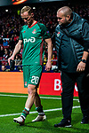 Vladislav Ignatiev of FC Lokomotiv Moscow walks off the pitch with an injury during the UEFA Europa League 2017-18 Round of 16 (1st leg) match between Atletico de Madrid and FC Lokomotiv Moscow at Wanda Metropolitano  on March 08 2018 in Madrid, Spain. Photo by Diego Souto / Power Sport Images