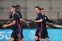 WIENER NEUSTADT, AUSTRIA - MARCH 25: Brenden Aaronson #11 of the United States celebrates scoring with teammates during a game between Jamaica and USMNT at Stadion Wiener Neustadt on March 25, 2021 in Wiener Neustadt, Austria.