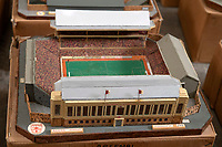 BNPS.co.uk (01202 558833)<br /> Pic: Zachary Culpin/BNPS<br /> <br /> Pictured: Arsenal's old Highbury ground<br /> <br /> An incredible collection of model football stadiums handmade by a soccer fan have sold for almost £19,000 after being found in a storage unit.<br /> <br /> Model-maker John Le Maitre created miniature versions of all 92 English Football League club grounds from the 1980s, as well as the old Wembley Stadium.<br /> <br /> They featured on a Blue Peter episode that year and are a throwback to a bygone age when football grounds with their banks of terraces looked very different to today's super stadiums.