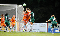Keeley Dowling rises above Yael Averbuch #10 and Melissa Tancredi #14..Sky Blue FC defeated Saint Louis Athletica 1-0 at Anheuser Busch Soccer Park, Fenton, Mo.