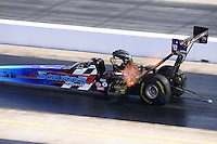 Sept. 15, 2012; Concord, NC, USA: NHRA top fuel dragster driver Cory McClenathan during qualifying for the O'Reilly Auto Parts Nationals at zMax Dragway. Mandatory Credit: Mark J. Rebilas-