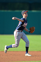 Shortstops Christian Hicks (10) of The Bolles High School in St. Augustine, Florida playing for the Atlanta Braves scout team during the East Coast Pro Showcase on August 1, 2013 at NBT Bank Stadium in Syracuse, New York.  (Mike Janes/Four Seam Images)