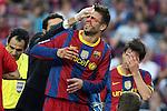 Football -Barcelona's Gerard Pique during Barcelona vs Hercules match at Camp Nou stadium in Barcelona, September 11, 2010.