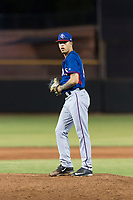AZL Rangers starting pitcher Yerry Rodriguez (80) gets ready to deliver a pitch during an Arizona League game against the AZL Giants Black at Scottsdale Stadium on August 4, 2018 in Scottsdale, Arizona. The AZL Giants Black defeated the AZL Rangers by a score of 6-3 in the second game of a doubleheader. (Zachary Lucy/Four Seam Images)